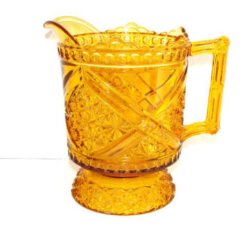 Daisy & Button with Crossbars Amber Glass Milk Pitcher 1885 Richards Hartley Pattern 99 Mikado EAPG
