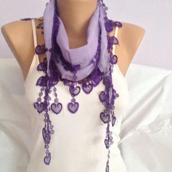 Lilac Scarf With Purple Lace - Heart Lace Scarf - Bohemian Fashion Scarf - Wedding Gift - Bridesmaid Scarf