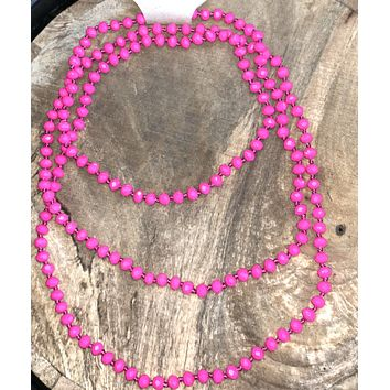 Hot Pink long beaded necklace