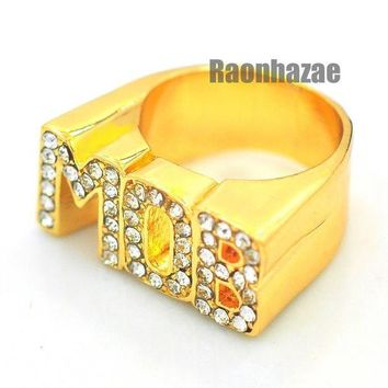 DCCKH7E HIP HOP ICED OUT SOLID CHUNKY TUPAC MOB M.O.B. SWAGGER GOLD PLATED RING N002G