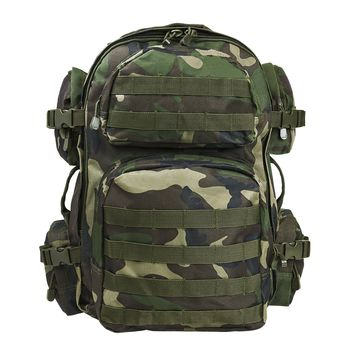 Tactical Backpack with Multiple Compartments & Molle Webbing - Woodland Camo