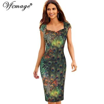 Vfemage Womens Elegant Vintage Peacock Feathers Print Retro Cap Sleeve Vestidos Casual Party Evening Sheath Bodycon Dress 3926