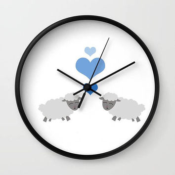 Sheep Nursery Clock - Lamb Wall Clock - Nursery Art Clock - Child's Wall Clock - Bedroom Decor - Made to Order