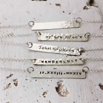 Personalized Bar Necklace - Rectangle Necklace - Gold Silver Latitude Longitude Hammered - Name Word Hand Stamped - Christina Guenther