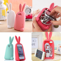 3D rabbit storage headphone cable Case For Iphone 4/4S/5
