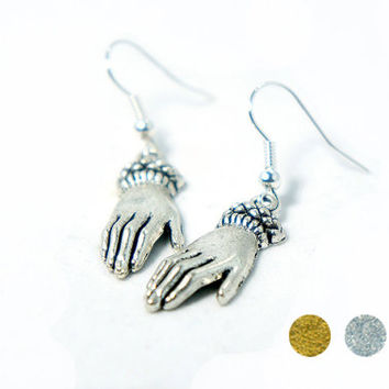 Antiqued Silver / Antiqued Brass Vintage Style Tiny Hand Dangle Earrings - CP122