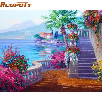 RUOPOTY Framed Seaside DIY Painting By Numbers Home Wall Painting Modern Acrylic Paint By Number Unique Gift For Home Decor Arts
