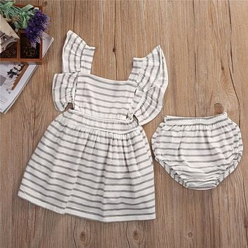Infant Toddler Baby Bow knot Striped Girl Tulle Dress New Arrival Summer Party Bridesmaid Dresses