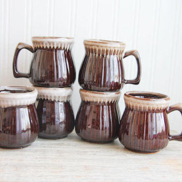 Vintage Stoneware Coffee Cups - Brown Drip Glaze Mugs
