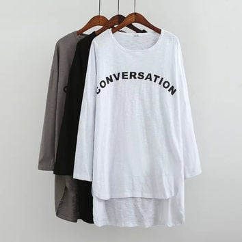 """CONVERSATION"" Print Long-Sleeve Asymmetrical Dress Shirt"