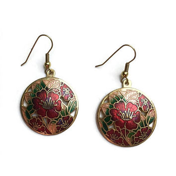 Red Enamel Earrings | Unused Vintage Cloisonné Earrings | Drop Dangle | Pierced Ears | New Old Stock Earrings | 1980's Earrings