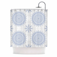"Julia Grifol ""Mandalas In Blue"" Vector Geometric Shower Curtain"