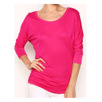 In Style 'Must Have' 3/4 Dolman Sleeve Fucshia Top
