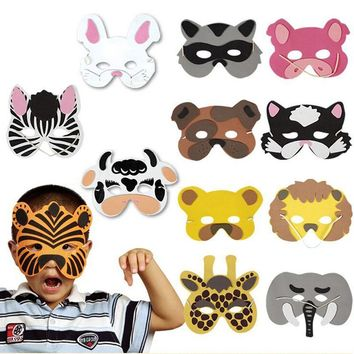 Nice 1 set/12Pcs Animal Head Mask for Cosplay halloween costume for Children Zoo Party Supplies mascaras de paintball
