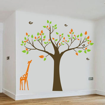 1.3M giraffe Tree birds Removable Wall Stickers Kids Nursery room  Vinyl Decals big decoration decals for baby room ES-10