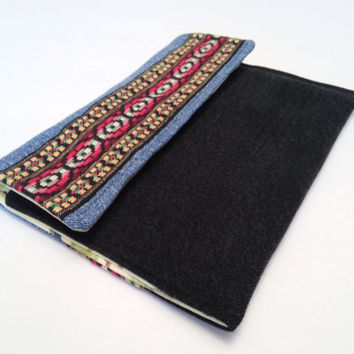 Boho Hand Bag / Boho Pouch / Upcycled Denim Envelope Bag