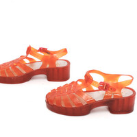 size 8 PLATFORM orange clear 80s 90s JELLY buckle slingback STRAPPY sandals