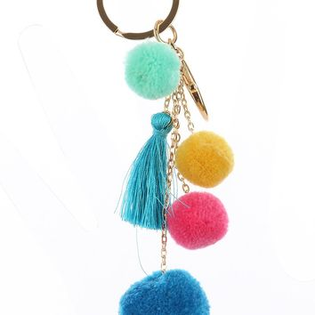 Mulit Color Multi Chain Pompom Bag Accessory Key Chain