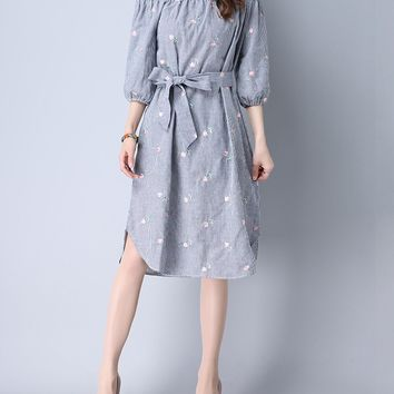 Streetstyle  Casual Pinstripe Off Shoulder Curved Hem Embroidery Shift Dress