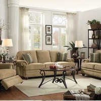 2 pc Colton collection wheat chenille fabric upholstered sofa and love seat set with nail head trim