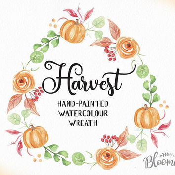 Watercolour Flower Wreath Clipart - Harvest Hand Painted INSTANT Download Fall PNG & JPEG Autumn Leaves Pumpkin Digital Art Pretty Garland