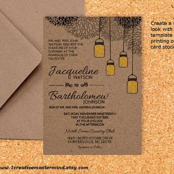 DIY Wedding Invitation Template Printable, Editable PDF Template, Instant Download, Digital, Kraft Mason Jars and Fireflies #1CM77-2