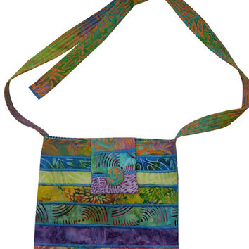Large Cross Body Hip Purse in Mixed Batik