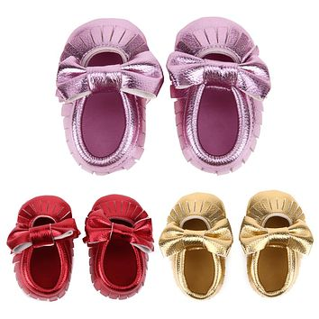 Newborn leather Shoes Baby Boys Girls Tassel Bow knot Soft Sole First Walker