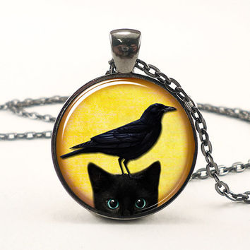 Cat And Crow Necklace Cute Halloween Jewelry Black by rainnua