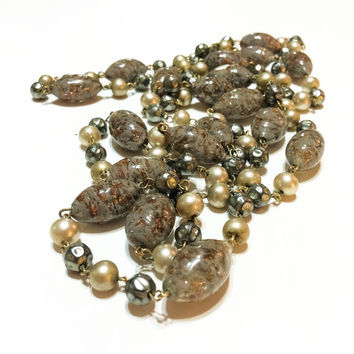 Murano Glass Beaded Necklace, Sommerso Beads, Extra Long, Oblong Beads, Cream and Grey Pearls, Vintage