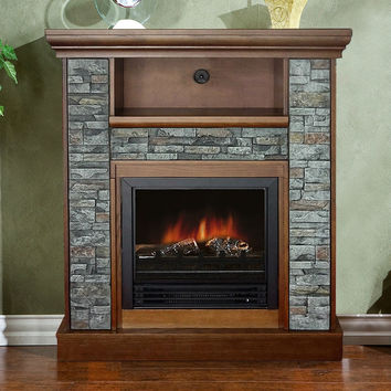 Classic Electric Fireplace Space Heater with Resin Stone