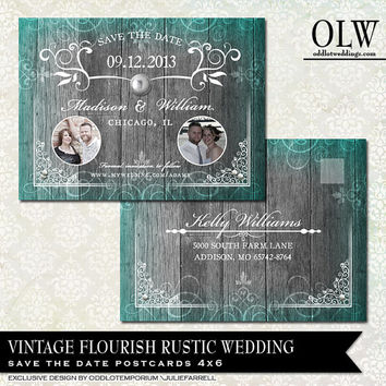 Rustic Wood Wedding Save the Date Photo Card  | Vintage elements flourishes and metal | Digital Printable File