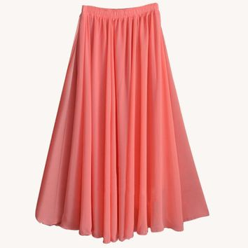 2017 Fashion Brand Women Top quality Solid Chiffon Long Skirt Elastic Waist A-line Great Maxi Beach Summer Skirts feminino saias