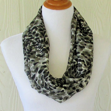 Animal Print Infinity Scarf, Black and Gray, Women's Chiffon Scarf, Circle Scarf, Loop Scarf, Tube Scarf , Women's Scarves, Eclectasie