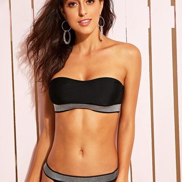 Glitter Trim Bandeau With Tanga Bikini Set