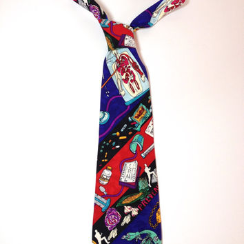 Lovesick, Novelty Silk Tie by American Fashion Designer Nicole Miller, Silk Necktie, Fun Funky Tie, Cartoon Neckwear, Doctor Feelgood Love