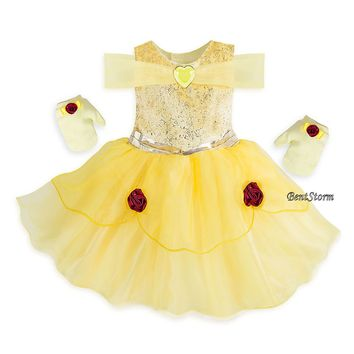 Licensed cool Belle Deluxe Baby Bodysuit Dress Costume Gloves Beauty & the Beast Disney Store