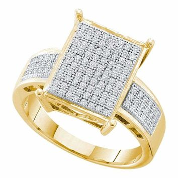 10kt Yellow Gold Women's Round Pave-set Diamond Rectangle Cluster Ring 1-3 Cttw - FREE Shipping (USA/CAN)