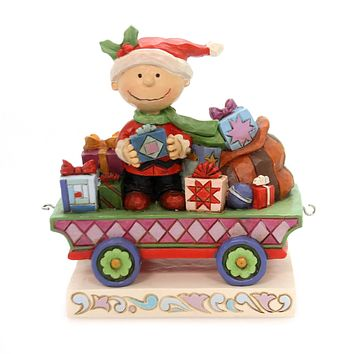Jim Shore ALL WRAPPED UP Polyresin Peanuts Charlie Brown Train Car 6000988