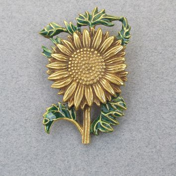 Vintage MFA Museum of Fine Arts Enamel SUNFLOWER Pin