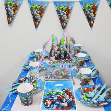120pcs\lot Avengers Theme Napkins Baby Shower Bags Cups Plates Kids Favors Tablecover Birthday Party Straws Decoration Supplies