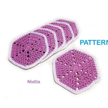 crochet hexagon pattern lace home decor table coaster doily decor motif drink coaster cottage chic summer coaster egst Niatta
