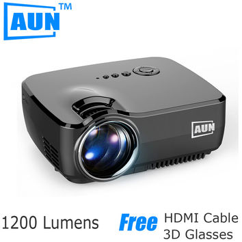 AUN LED Projector 1200 Lumens Mini Projector Support 1920x1080P HD Projector for Home Cinema Digital TV Partr AM01