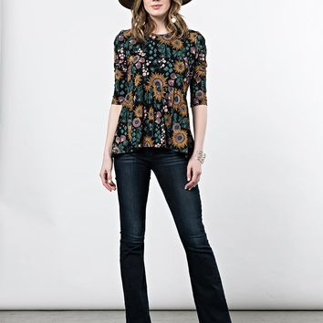 Mata Traders Paloma Top Black Floral