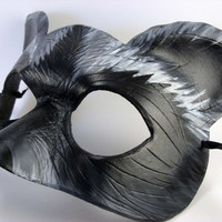 Raccoon Mask Hand Made from Leather with natural grey look.  Great for cosplay, masquerade, dress up or display!