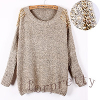 Women Rock Embellished Spiked Studs Chain Wide Bat Sleeves Jumper Sweater Top