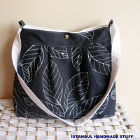 Navy Pleated Bag Shoulder Bag /Messenger Bag / by dreamhouse1