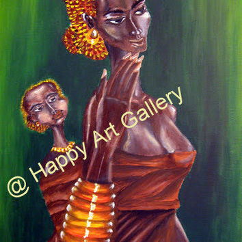 African Mother Baby Son bond jewelry basket acrylic painting canvas original PRINT Wall Decor Green Brown Orange Yellow
