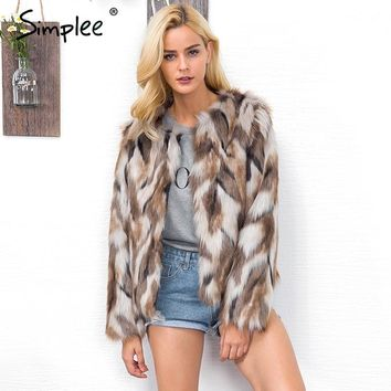 Simplee Color mixing faux fur coat Warm hairy autumn winter overcoat female Fluffy long sleeve jacket coat 2017