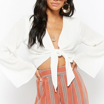 Crinkled Tie-Front Crop Top